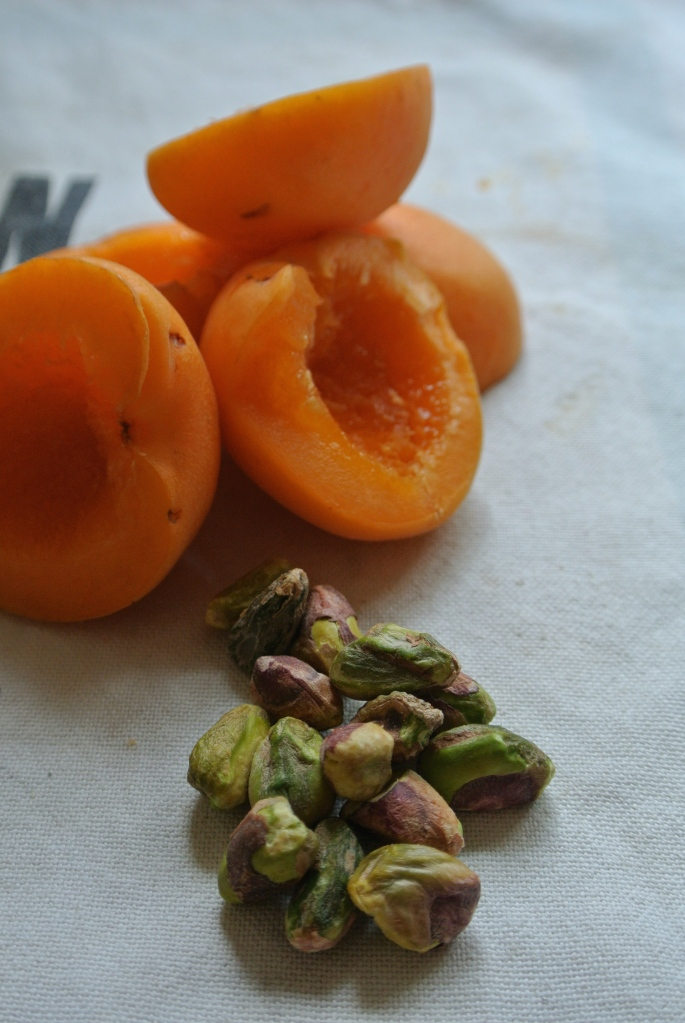 apricots and almonds that's very satisfying. Throw in the pistachios ...