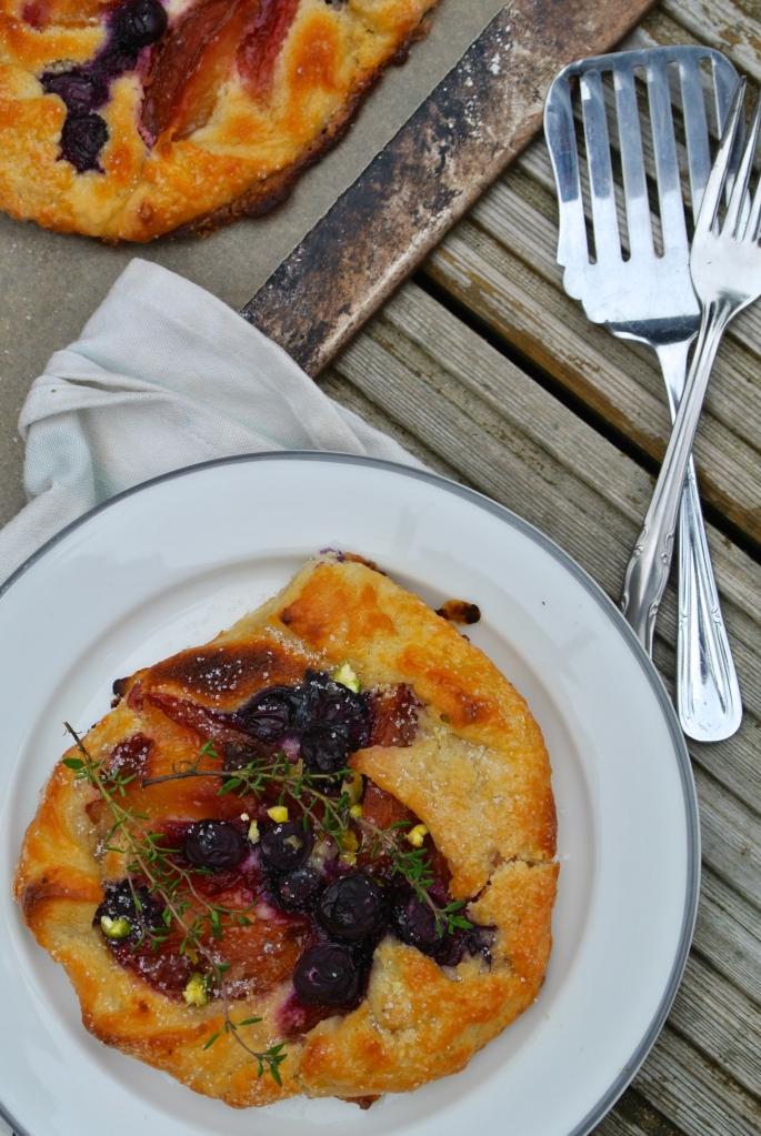 Frangipane plum blueberry galette